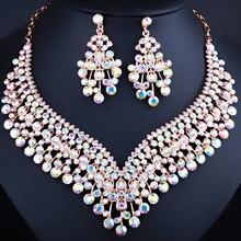 De lujo de Oro Fino Plateado Precio Al Por Mayor de Flores de Cristal Pendientes y Collar Conjuntos de Joyería de Fantasía de La Boda
