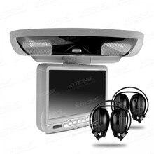 """XTRONS Cinza 9 """"Tela Digital Flip down Carro Telhado DVD Player Sobrecarga FM USB Jogo Headset + 2 pc fones de ouvido IR Teto DVD Player"""