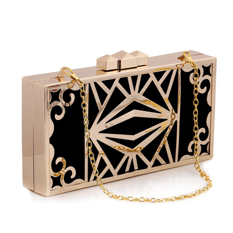 Fashion Metallic Hollow Women's Evening Party Clutch Lady Frame Handbag Pouch Metal Chain Shoulder Bag Crossbody Messenger Flap metallic pu chain crossbody bag