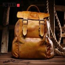 AETOO Новые салфетки досуга кожаный мешок Корейской моды модные женские первый слой кожи рюкзак