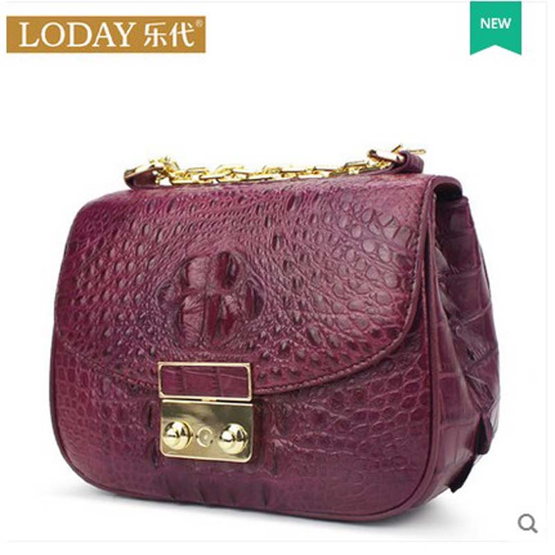 ledai Alligator women handbag women bag 2018 new style crocodile leather single shoulder bag alligator chain small women bag