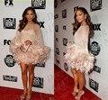 Increíble Mujeres Corto de Plumas Vestidos De Baile Vestidos de Cóctel Inspirado Jennifer Lopez Alfombra Roja de La Celebridad Vestidos 2016 Por Encargo