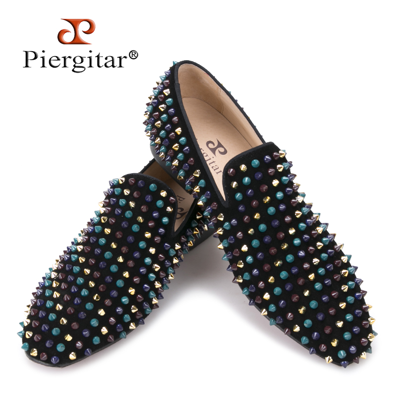 Piergitar 2017 men leather shoes with mixed colors rivets luxurious smoking slipper Prom and Banquet men casual loafers big size piergitar 2016 new india handmade luxurious embroidery men velvet shoes men dress shoes banquet and prom male plus size loafers