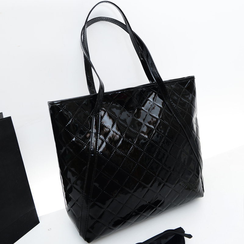 Spring new female bag quality pu leather women bag Quilted Threads shiny patent leather handbag shoulder bag large capacity patent leather handbag shoulder bag for women