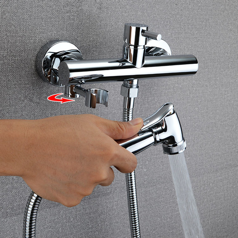 Hot and Cold Bidet Faucet Bathroom Shower Toilet Jet Cleaner Portable Spray Wall Mount Mixer Faucet Exempt from Drilling, цена и фото