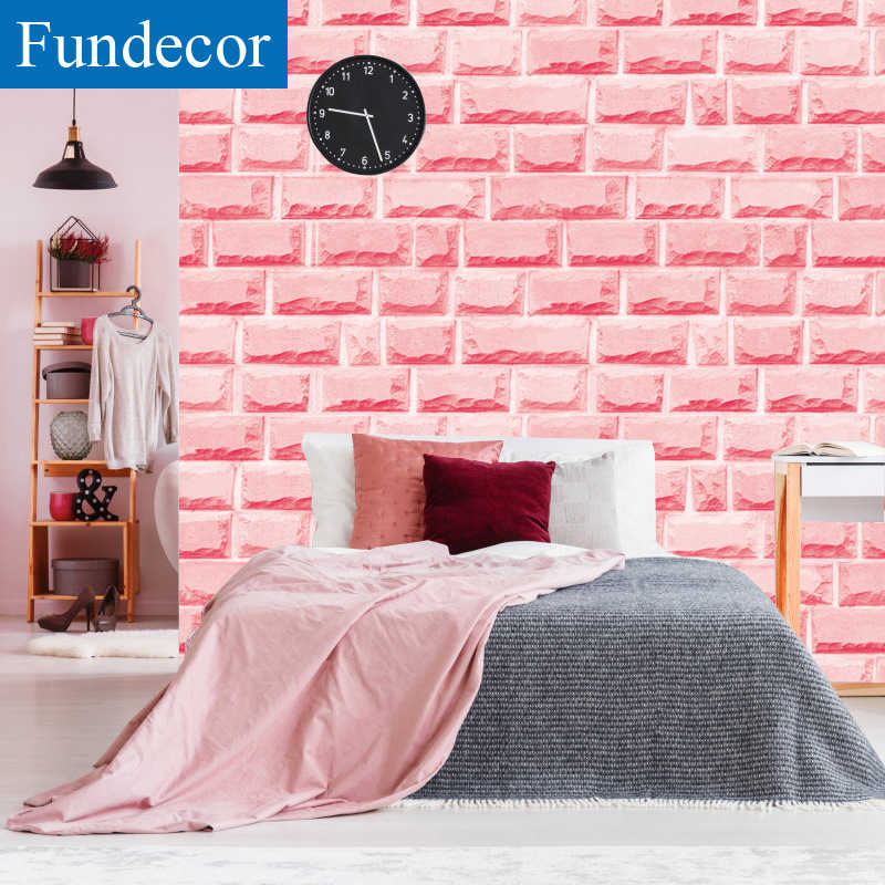 [Fundecor] Pink Brick Wall Wallpaper Self Adhesive For Living Room Kids Girls Rooms Home Decor 3d Wall Paper Rolls Wall Sticker