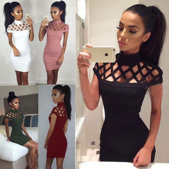 2017 New Mess Hollow Out dress Autumn Winter 5 Color Turtleneck Solid Short Sleeve Mini Dresses