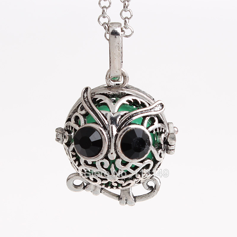 12pcs/lot Openable Owl Animal Hollow Copper Mexican Chime Magic Box Cage Musical Sound Ball Pregnancy Necklaces HCPN33
