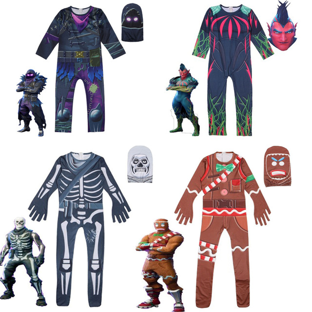 Boys' Clothing Clothing Sets Kids Streetwear Costumes Boy Jumpsuits Fortnitedcosplay Children Halloween Skull Trooper Kids Costume Raven Cosplay Sets
