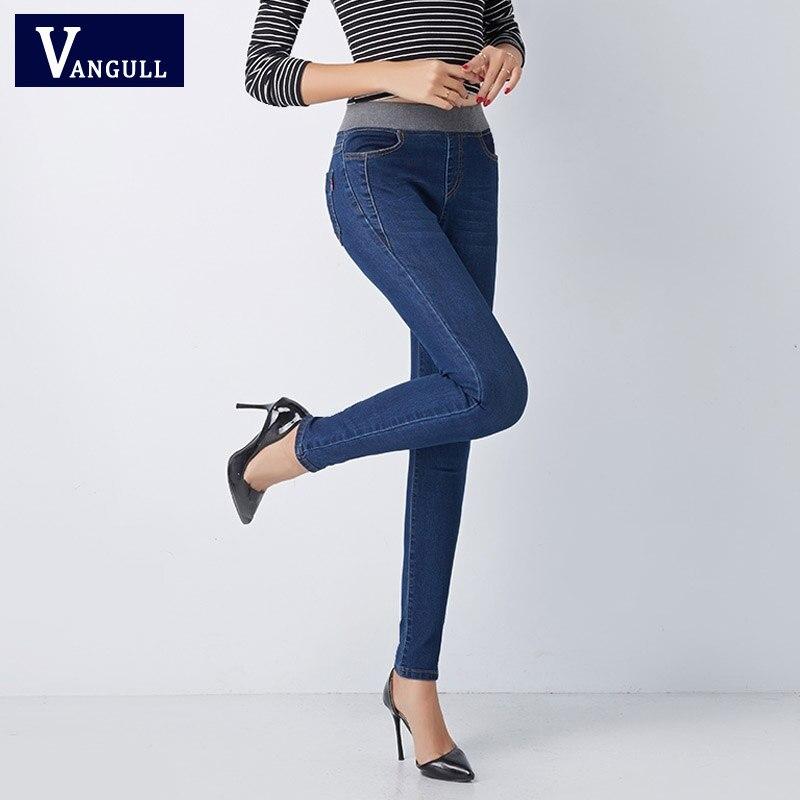 Vangull Plus Size 36 Women Jeans New Casual High Waist Summer Autumn Pant Slim Stretch Cotton Denim Trousers Woman Blue Black