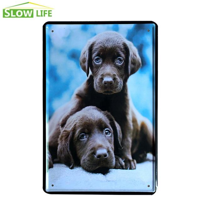 2 Little Black Labradors Poster Vintage Home Decor Tin Sign Bar\\Cafe ...