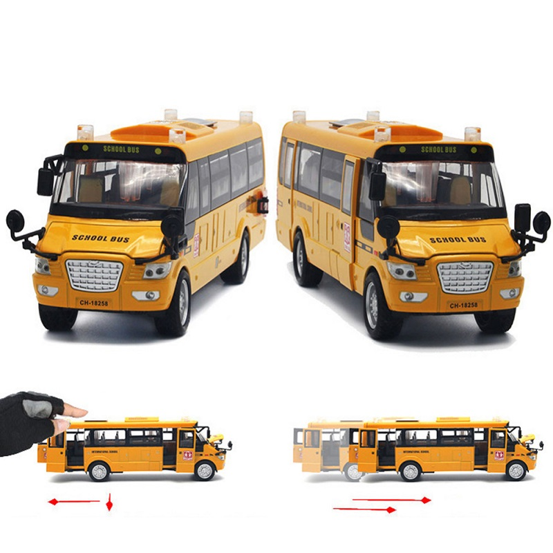 Sound Light Metal School Bus Model Open Doors Pull Back Large Car Toy Kid Gifts
