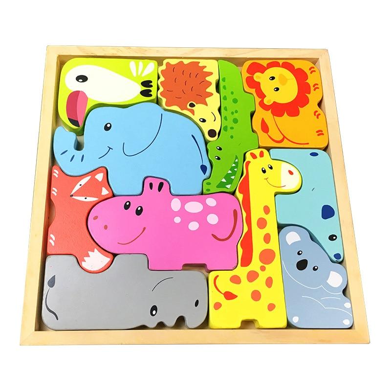 Kids Montessori Materials 3D Puzzles Animals Clever Board Montessori Educational Wooden Toys For Children Juguetes Montessori
