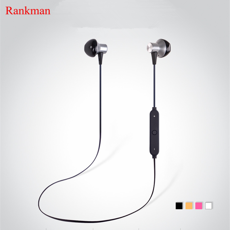 Rankman Fashion New Wireless Bluetooth Metal Earphones Stereo Music Earbuds Sport Running Magnetic Earphones for Phones