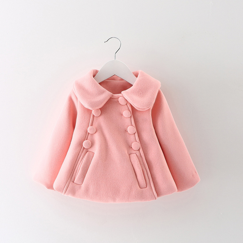 Autumn Winter Baby Infants Girls Kids Turn-Down CollaR Double Breasted Jacket Woolen Blended Cardigan Outwear Coat  Casaco S5779