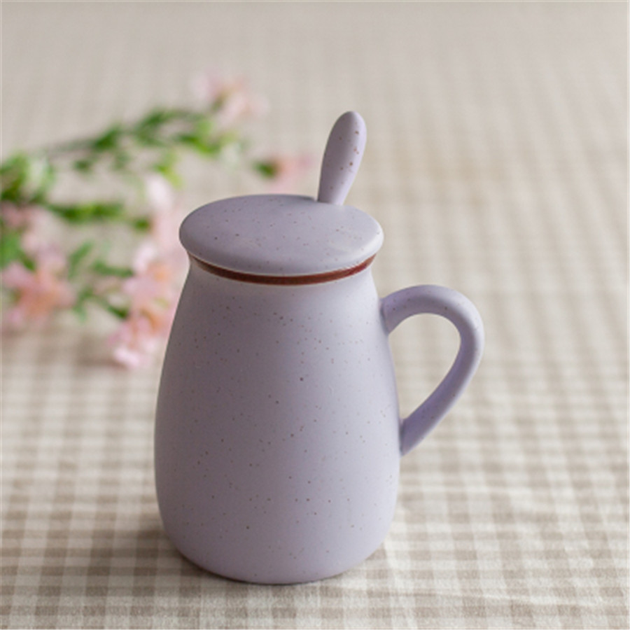 Geramic Drinkware With Lid new Arrival milk cups creative Cute Looking coffee cup Plain Gift For Friends Tea cup With Spoon