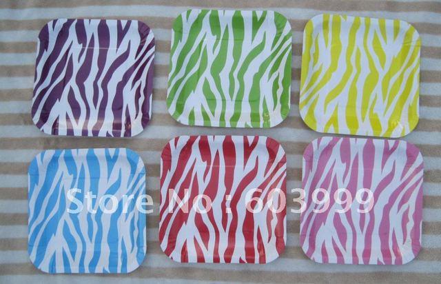 Boutique Themed Party Supplies Animal Zebra Print Square Paper Plates 7.25\  18.5CM 6 colours  sc 1 st  AliExpress.com & Boutique Themed Party Supplies Animal Zebra Print Square Paper ...