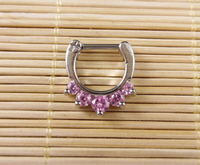 1 Pcs Gold Plated Surgical Steel Body Nose Ring Septum Clicker With High Quality Gems Nose
