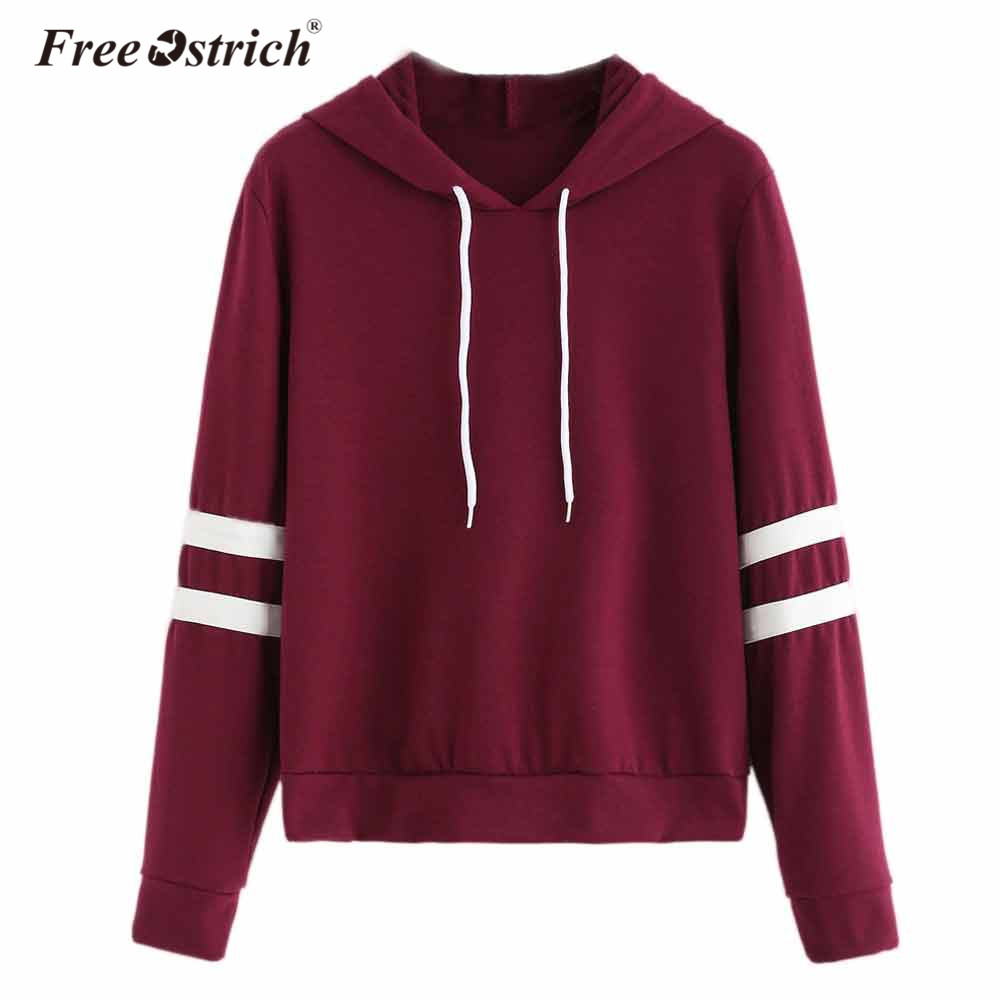 Free Ostrich Sweatshirt Hoodies Women Long Sleeve Striped Sudadera Mujer Jumper Women Clothing Sweatshirt Tumblr Hooded No9