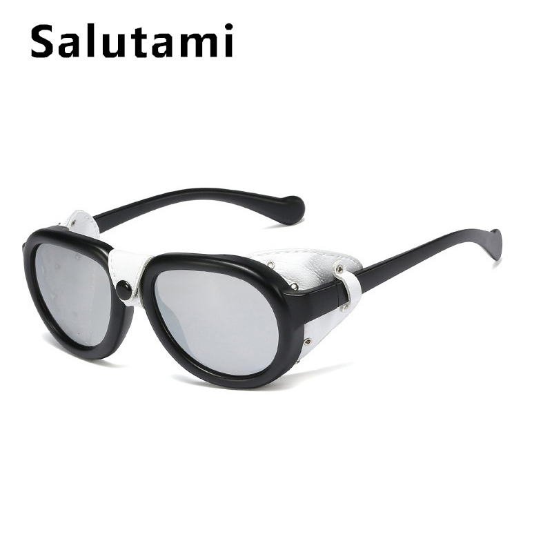PU Leather Frame Punk Sunglasses For Men 2020 Luxury Brand Black Steampunk Round Eyewear Women Vintage Rivet Button Sun Glasses