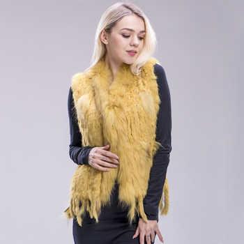 ZDFURS* 2018 new colors Women Genuine real Rabbit Fur Vest coat tassels Raccoon Fur collar Waistcoat wholesale drop shipping