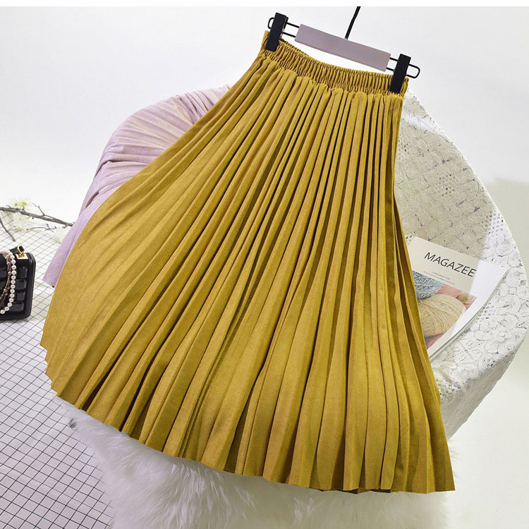 19 Two Layer Autumn Winter Women Suede Skirt Long Pleated Skirts Womens Saias Midi Faldas Vintage Women Midi Skirt 24