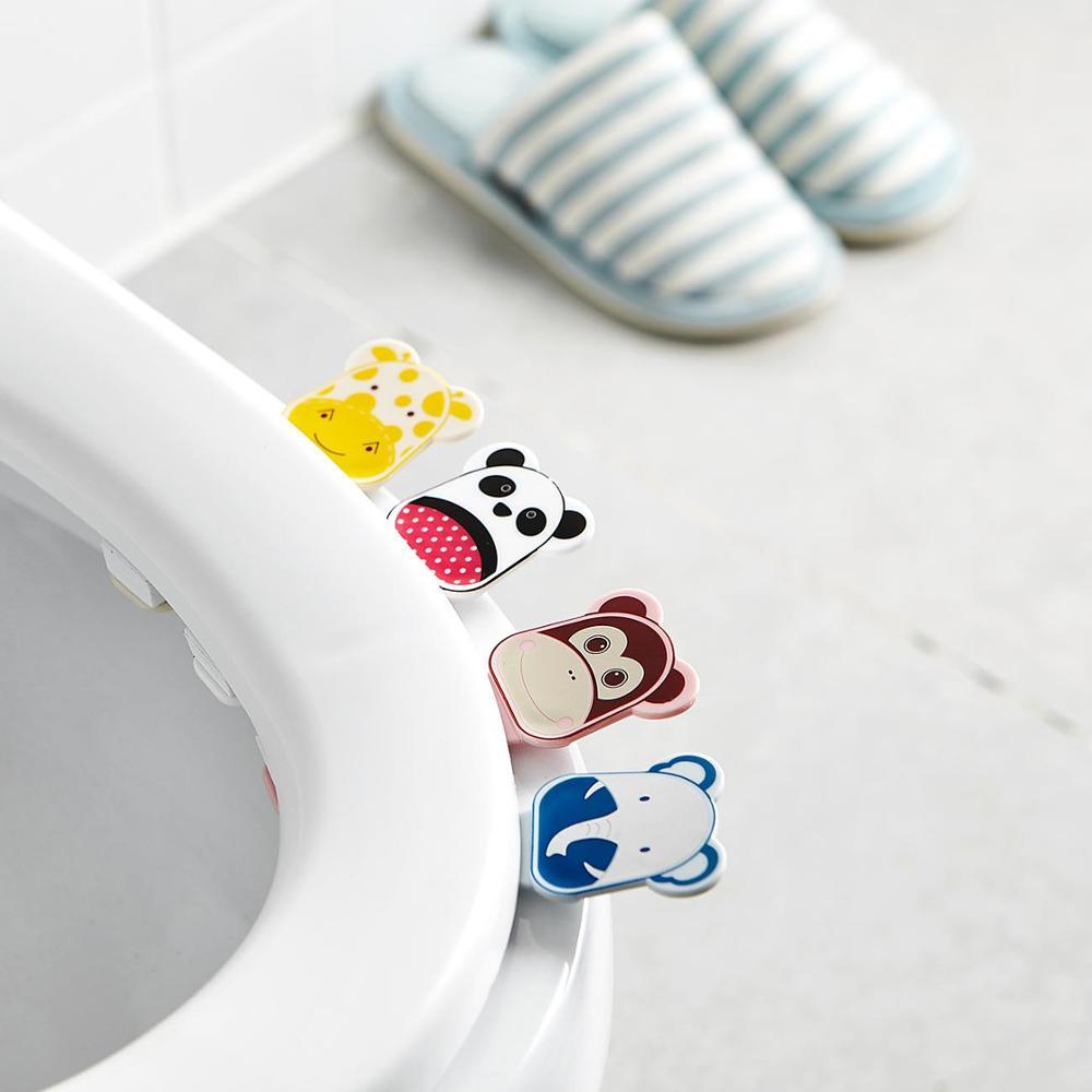 2PCS/Set Cartoon Cover Lifter Bathroom Lid Cover Toilet Bowl Seat Lift Handle Bathroom Toilet Seat Holder Accessories