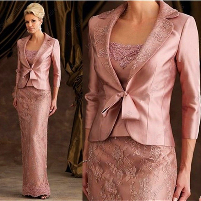 hot sale top rank 2015 Mother Of The Bride Dresses 2 Piece With Jacket long  sleeve lace appliques Mother Dresses wedding party 8e9d2899a