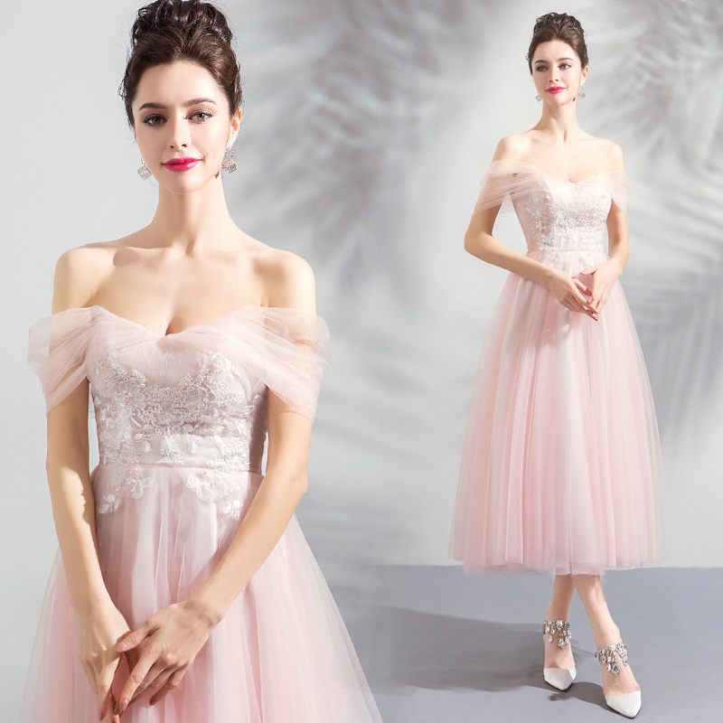 2018 new stock plus size women pregnant   bridesmaid     dresses   wedding party A line lace boat neck sexy romantic cheap pink   dress