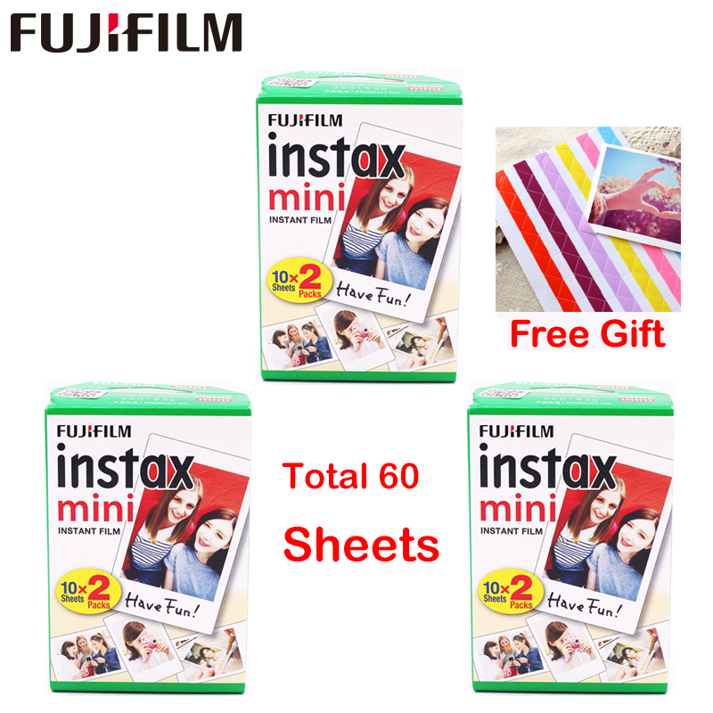 Original 60 Sheets Fujifilm Fuji Instax Mini White Film Instant Photo Paper For Instax Mini 7s 8 9 70 25 Camera SP-2 + Free Gift