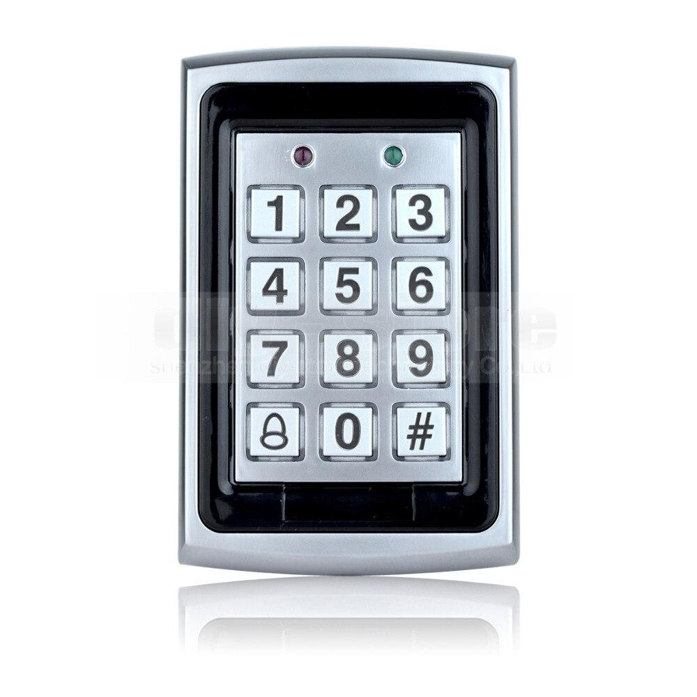 DIYSECUR 125KHz RFID ID Card Reader Metal Keypad With Door Bell Button Door Access Control System +10 ID Key Fobs