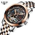 2016 LIGE Marca de Luxo do esporte dos homens Relógios Mecânicos Oco Esqueleto relógio automático de Negócios Relogio masculino Relojes Hombre