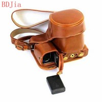 Leather Camera Case For Sony A6400 A6300 A6000 Camera PU Leather Camera Bag Cover With Battery Opening+strap