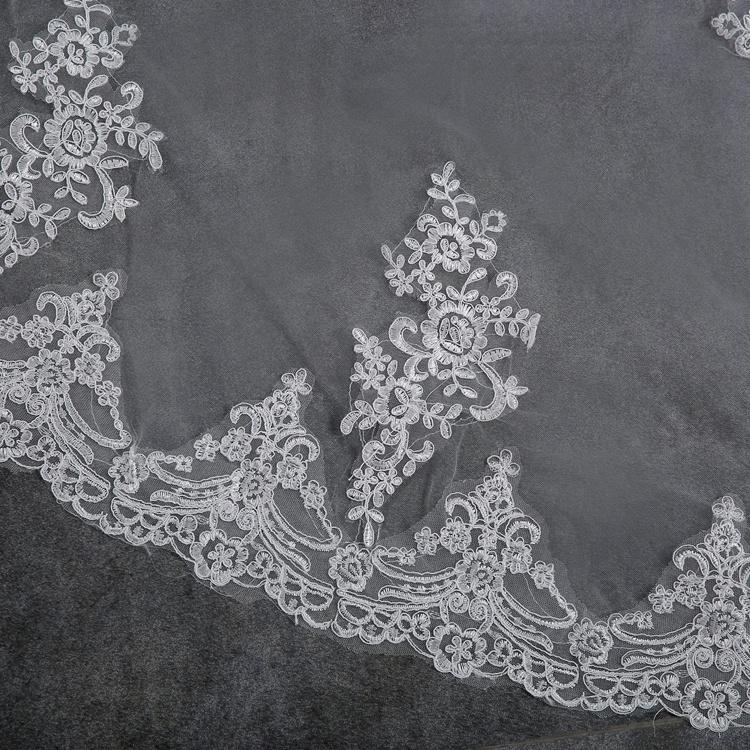 2017 Wedding Veils Wedding Bridal Veil 1 Layer Handmade Beaded Crescent edge Bridal Accessories Veil Ivory color (4)
