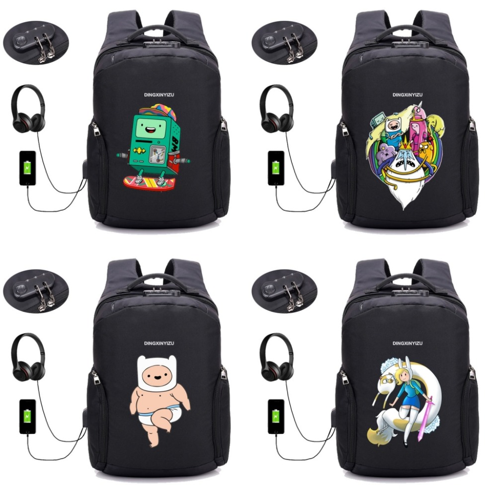 Japan anime Adventure Time Backpack USB Charge Anti Theft Backpack Men Women Waterproof bag School Bags Travel Backpack 16 style universal portable 6000mah li ion battery power bank w usb charging cable blue