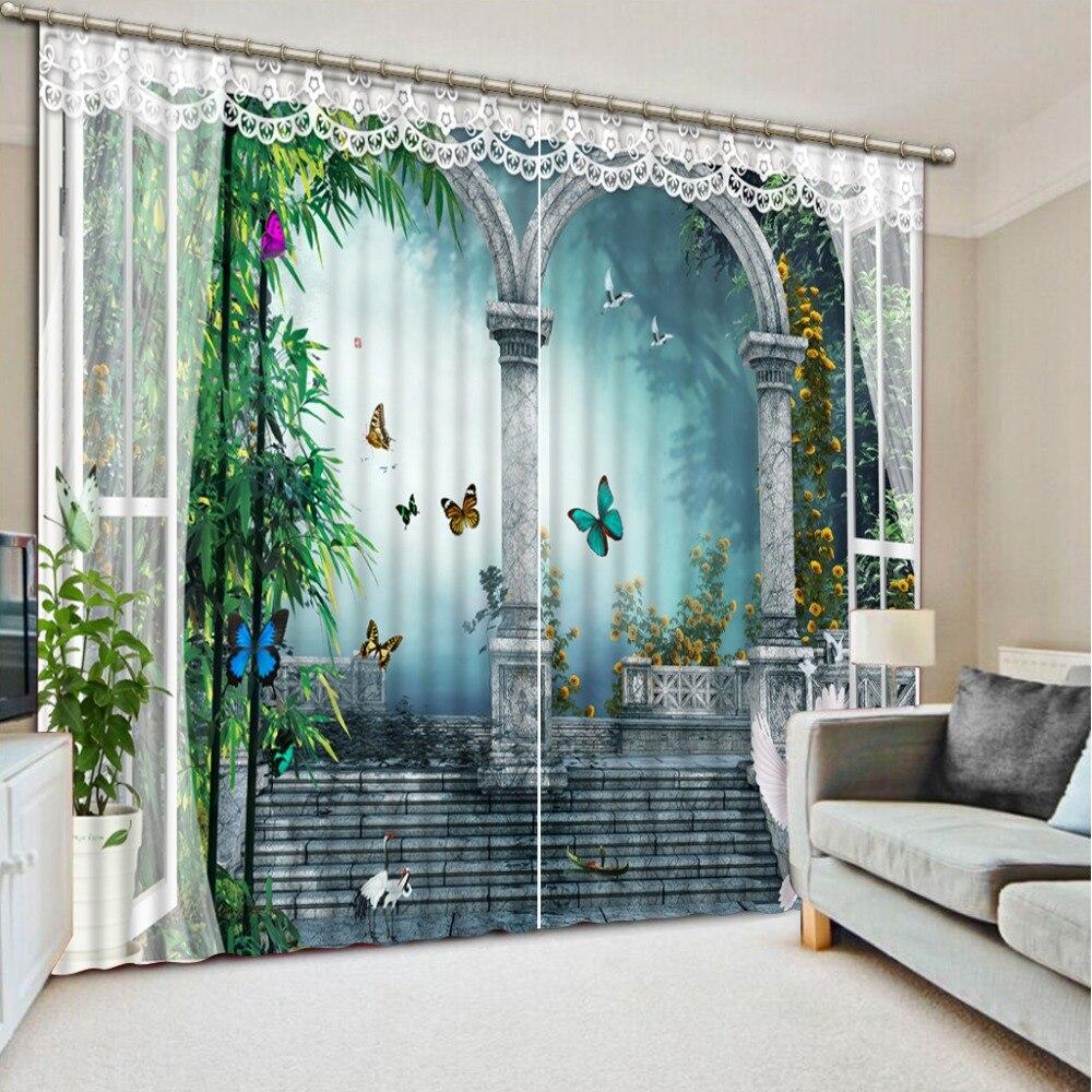 High quality custom 3d curtain fabric Curtains Decoration European 3D Curtains For Living room door curtains