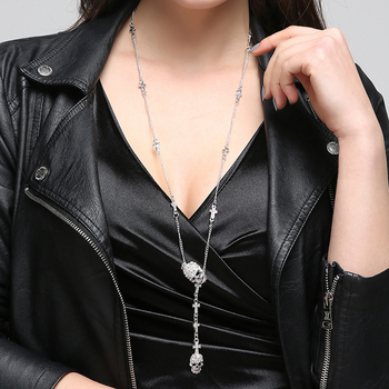 Skull Cross crystal Pendant Necklace Gothic Long Necklaces