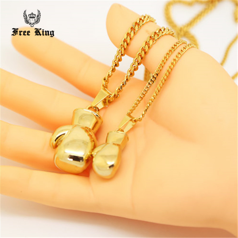 "Golden 3D Solid Boxing Boxer Gloves Charm Necklace 24"" 27.5"" Cuban Chain Golden Hip hop Accessory Men's Gift Free King"