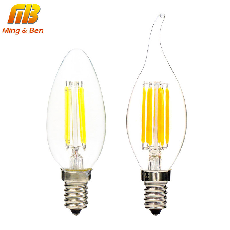 [MingBen]4pcs LED Filament Candle Light Bulb E14 110 220V 2W 4W 6W C35 LED Edison Bulb Retro Vintage Style Cold White Warm White dimmable led filament candle light bulb e14 220v 240v 2w 4w 6w c35 c35l vintage edison bulb for chandelier cold warm white