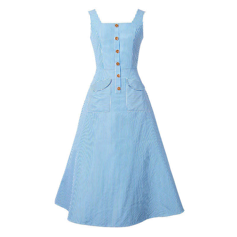 1dc0da80446 Sisjuly Vintage 1950s Dresses Summer Light Blue Women Striped Dress Slash  Neck Mid Calf Rockabilly Retro