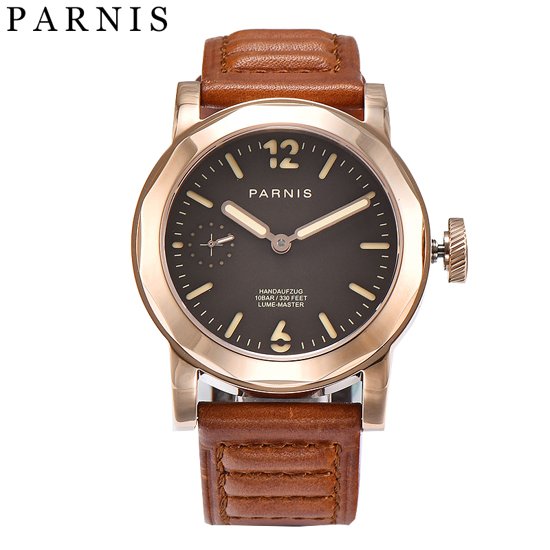 лучшая цена Fashion Men Watch 43mm Parnis Sea-gull 3600 Movement Hand Winding Mechanical Watches Black Dial Gold Stainless Steel Case