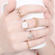 Bohemian 4 5 6pcs/Set Retro Brass Rings For Women Beach Jewelry Leaf Midi Finger Set HOT Sell 2019 Charm