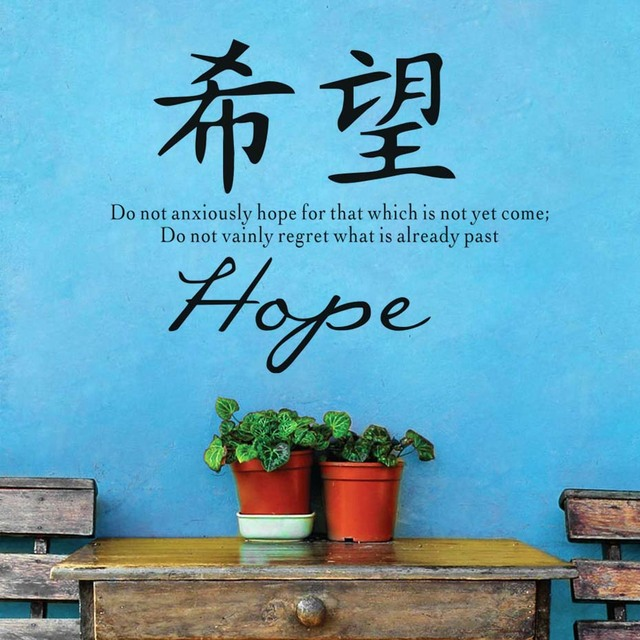 Hope Vinyl Wall Sticker Chinese Symbol Quote Wall Decal Living Room