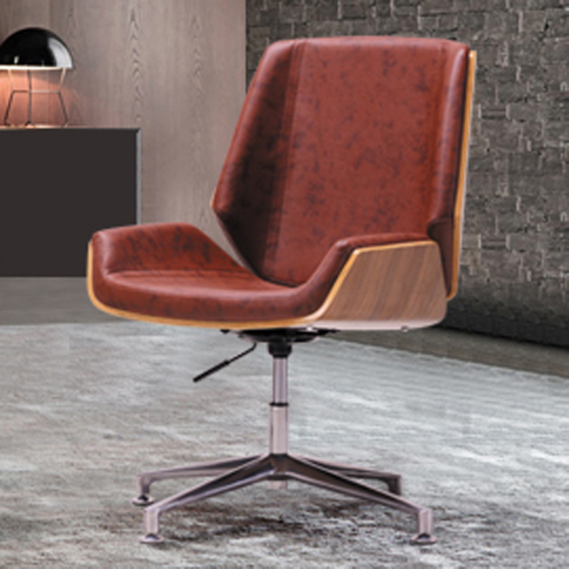 цена на Dark Brown Modern Creative PU Leather Swivel Leisure Chair