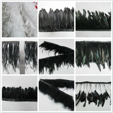 1pcs Diy Feather cloth skirt Performing apparel accessories wedding dress feathers decorate Black feather strip AC091
