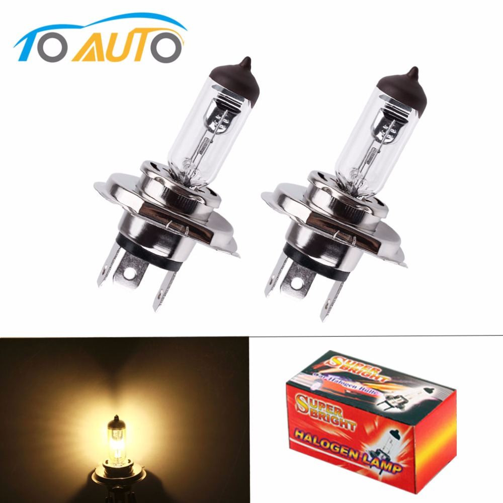 2pcs H4 12V 100W /90W 4300K Yellow P43t Fog Halogen Bulb Light Amp Car Styling Car Light Source
