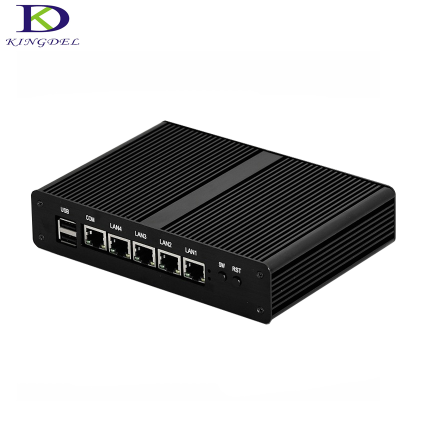 Kingdel 4*LAN Mini PC Fanless Desktop Computer Celeron J1900 Quad Core Mini PC HTPC 2*USB VGA Windows 7 DHL Free Shipping