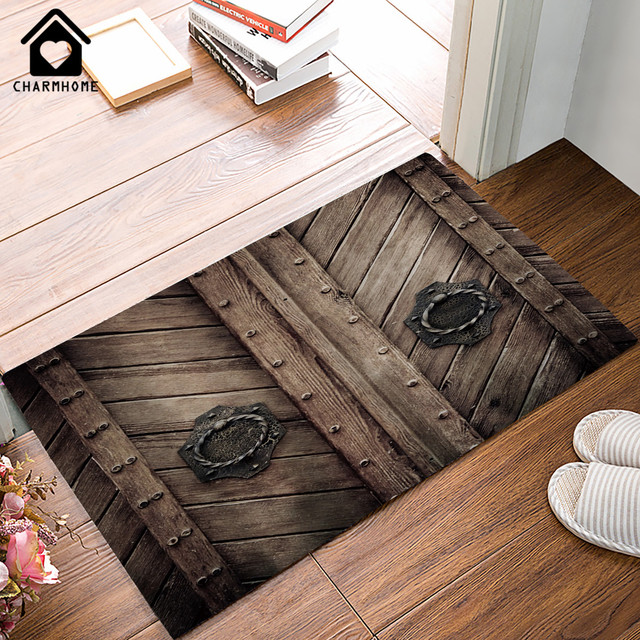 Incroyable CHARMHOME Brown Old Wooden Garage Door Carpet Entrance Indoor Non Slip  Floor Mat Bathroom Retro