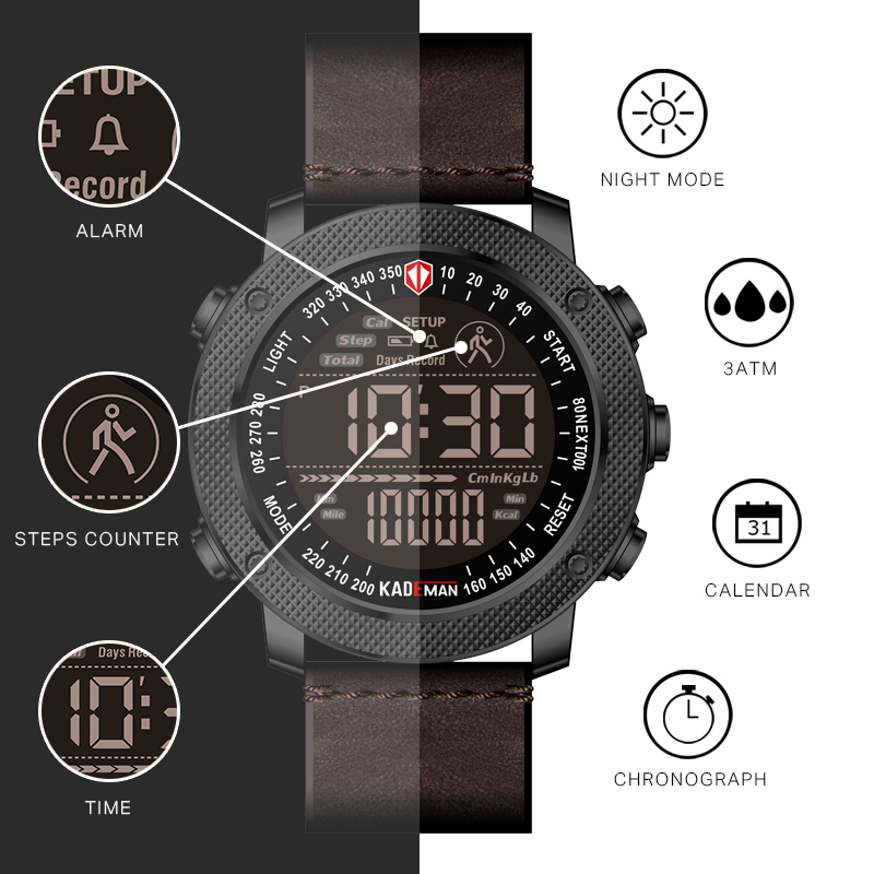 KADEMAN TOP Brand Men Watch Digital LED Step Count Fashion Sports Wristwatches Waterproof Leather Casual Watch Relogio Masculino in Digital Watches from Watches