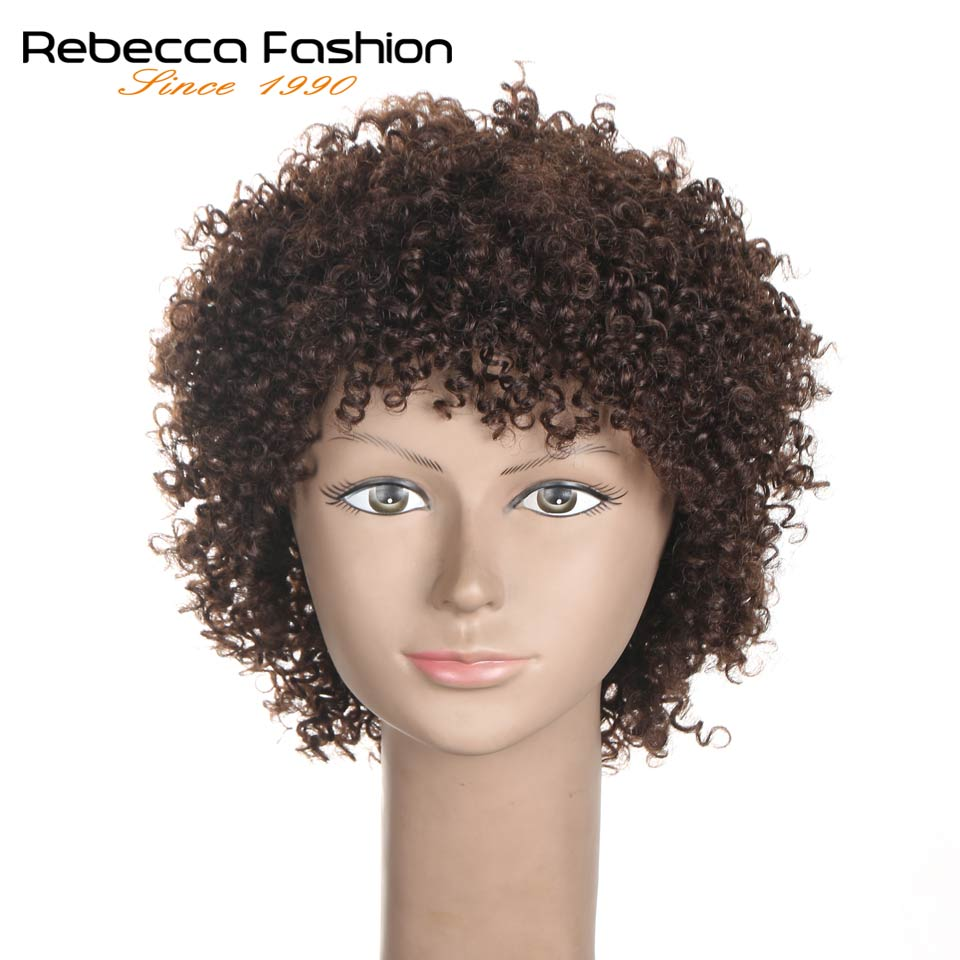 Rebecca Short Afro Kinky Curly Wig 100% Human Hair Brazilian Kinky Curly Wigs For Black Women Cheap Wig Wholesale Brown Blonde